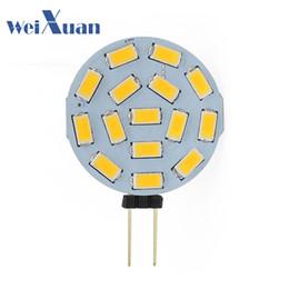 Wholesale G4 Led 24v - G4 LED Round Range Lamp Bulb 15leds 5730 SMD 12V 24V DC 1W LED Reading Dome Light 120 Degree White Warm White