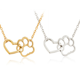 2020 huellas de perro Hollow Pet Paw Footprint Necklaces Shellhard lindo Animal Dog Cat Love Heart colgante de collar para mujeres niñas collar de la joyería rebajas huellas de perro