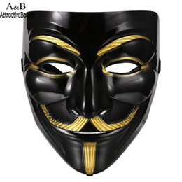 v for vendetta black mask Promo Codes - AttractiveBeauty Halloween Masquerade Costume Cosplay V for Vendetta Anonymous Mask N30A