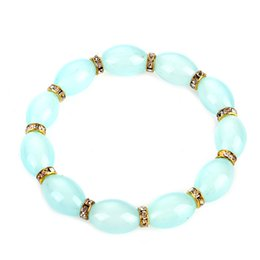 Wholesale China Shipping Online - china style artificial agate oval shape multi color glass beads elastic bracelet online shop for women drop shipping