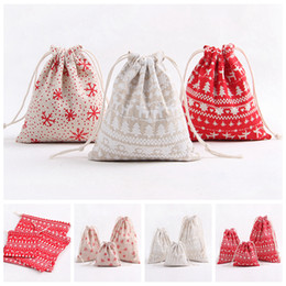 Wholesale paper recycled package bag - Drawstring Bundle Gift Bags Package Wrap Storage Bag For Christmas Cotton Container Party Favor Supplies NNA390