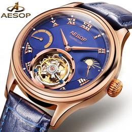 кожаные ремни Скидка AESOP  Tourbill Men Watch Mechanical Wristwatch Leather Band Male Clock Wrist Hand Wind Waterproof Relogio Masculino 31