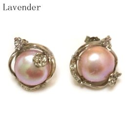 Wholesale Cultured Pearl Studs - Wholesale 11-12mm Natural Lavender Cultured Fresh Water Button Pearl Women Fashion Handmade Brand Sterling Silver Stud Earring