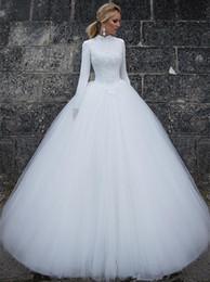 2019 sexy bling blanco vestidos de novia de playa Vestido de gala precioso Vestidos de novia Cuello alto Longitud del piso Vestido de novia de tul musulmán blanco vestido de manga larga de encaje de manga larga