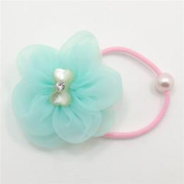 Mini luz de fibra on-line-30 pçs / lote cor de luz pastel organza flor elástica hairbands com pérola contas mini floral headwear elástico para o miúdo menina rabo de cavalo