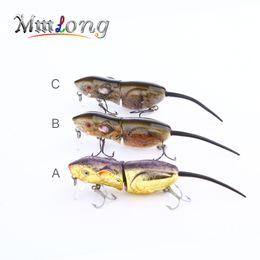 "Wholesale mice lures - Mmlong 2.5"" Rat Fishing Lure Realistic Mouse Crankbait Vivid 3D Eyes Swim Bait 10.3g Lifelike Fishing Wobbler Tackle Rat4-M"