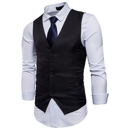 официальные платья xxl Скидка Fashion Formal Men Suit Vests  Quality Business Unique Button Design Solid Color Slim Fit Business Dress Waistcoat Vest XXL