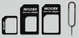 Tarjeta sim para iphone5 online-Adaptadores adaptadores 4 en 1 Nano SIM a Micro / Standard Card para iPhone 5 4S 4 iPhone5 con paquete minorista Expulsar PIN tarjeta SIM