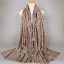 Wholesale Glitter Shawls Scarves - 200*80cm plain bandhnu cotton glitter silver bohemian shawls hijab summer muslim long scarves