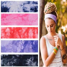 2019 mehrfarbige haare gefärbt Die neue Sport Fitness Absorbieren Schweiß Haarband Tie-dyed Farbe Reiner Baumwolle Stirnband Druck Haarband T4H0182 günstig mehrfarbige haare gefärbt