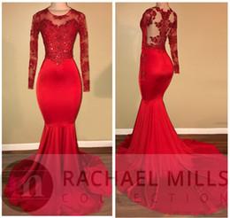 2018 Neue Sheer Long Sleeves Mermaid Abendkleider Rote Spitze Appliques Perlen Mermaid Prom Kleider Sexy Illusion Zurück Formale Party Kleider
