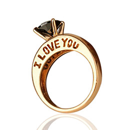Ordem anéis banhados a ouro on-line-Escultura eu te amo anel de ouro e prata banhado a nova chegada anel de cristal moda venda quente 10 pçs / lote aceitar a ordem da mistura