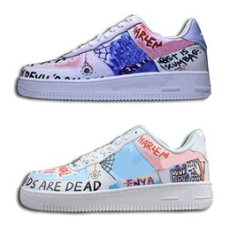 Wholesale paint pops - 2018 Pauly X VLONE POP Customs Scrawl Casual Shoes Designer New Painting Blue Purple TOP Quality Skateboard Shoes With Box