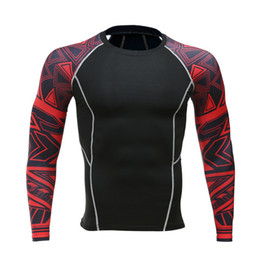 Wholesale multi layer t shirt - Men Compression Shirt With Long Sleeves Breathable Quick Dry Flower Arm T-shirt Bodice Fitness Weight Lifting Base Layer