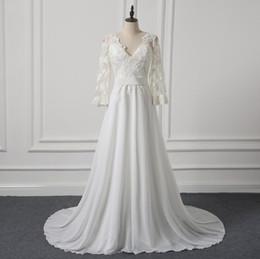 Canada Une ligne de mousseline de soie simple robes de mariée Bohème trois quarts manches dentelle Sexy V-Neck dos nuptiale Robes mariage US taille 10 Offre