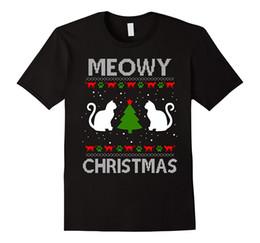 Nuovi brutti maglioni di natale online-Maglietta Kitten Meowy Christmas Ugly Christmas Maglione di Natale 2017 New Pure Cotton Maniche corte Hip Hop Fashion T Shirt