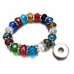 Nuovi 044 colori di caramelle intercambiabili allungabile braccialetto di perline di cristallo elasticizzato in forma di 18 mm con bottone a pressione gioielli regalo braccialetto donne da il rosario di plastica borda all'ingrosso fornitori