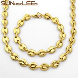 2019 collana della sposa del pavone 7mm SUNNERLEES Fashion Jewelry Collana in acciaio inossidabile Set di braccialetti Catena da uomo a chicchi di caffè da donna SC13 S