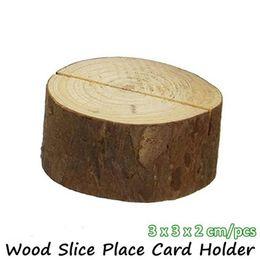 Ko online-Retro Baumstumpf Handwerk Holz Scheibe Tischkartenhalter Hochzeit Natürliche Holz Schmücken Foto Clip Tisch Sitzkarten Party Supplies 5 5by ff