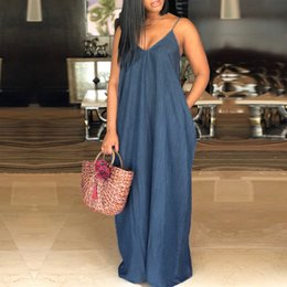 women denim maxi dress Promo Codes - Sexy Strapless Beach Maxi Dress Long Women V Neck Backless Casual Loose Solid Denim Dresses Plus Size Floor-length Vestidos