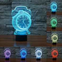 Wholesale Halloween Atmosphere - Alarm Clock lamp Touch 7 Color Changing Led 3D Atmosphere Lamp Gradient Visual Perspective Nightlight USB table light IY803436