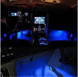 Yeni Mavi 4 in 1 12 V 4 x 3 LED araba İç ışık Dekoratif Atmosfer Işık Lambası nereden moda hip hop kızlar tedarikçiler