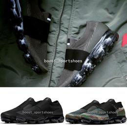 Wholesale Khaki Cargos - Vapormax Laceless Moc Triple Black Multicolor Cargo Khaki Cool Grey high qaulity vapormaxes slip-on sneakers sports Running shoes size36-45