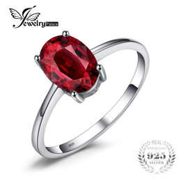 Wholesale Garnet Ring Set - whole saleJewelryPalace 1.6ct Pure Red Garnet Solitaire Ring For Women Oval Cut Solid 925 Sterling Silver Fashion Accessories On Sale