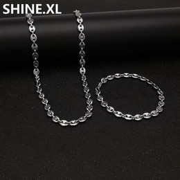 "stainless steel coffee beans Coupons - 316L Stainless Steel Coffee Bean Chain 22""Necklace and 8""Bracelets Fashion Hip Hop Jewelry Set Gold Chain for Men"