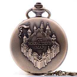 Wholesale Vintage Map Watch - Drop Shipping Vintage Antique The MARAUDERS MAP Quartz Pocket Watch Analog Pendant Necklace Men Women Bronze Regarder Gift