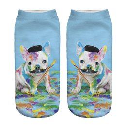 Wholesale Cartoons Artist - 1pair 3D Funny Paint Artist Dog Printed Short socks Women Men Blue Low Cut Ankle Cartoon Cotton Casual Character Sock