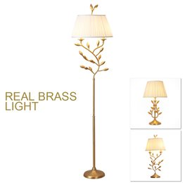 American Country Modern Copper Brass Floor Lamp Light LED Table Lamp 2  Lights Golden Tree Branch Leaf Floor Standard Light