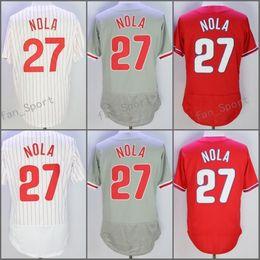 Wholesale Philadelphia Home Jersey - 2018 Flexbase Philadelphia #27 Aaron Nola Home Away Baseball Jersey White Red Blue Grey Pullover Cool Base Stitched