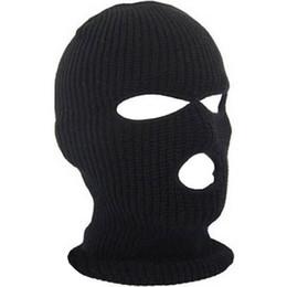 Nouveau masque intégral de couverture du visage trois 3 trous trou cagoule en tricot bonnet hiver masque de neige bonnet chapeau bonnet nouveau noir chaud masques pour le visage ? partir de fabricateur