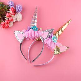 Wholesale beautiful unicorn - 1DZ Handmade Kids Party Gold Unicorn Headband Horn Gold Glittery Beautiful Headwear Hairband Hair Accessories Gold Silver