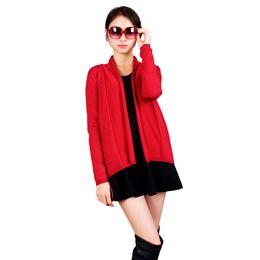 vestido sexy de camisola vermelha Desconto Primavera Outono Mulheres Cachecol Gola Malha Cardigan Vermelho Camisola Malhas Camisola de Manga Longa Bolero Fácil olhar Vestido Sexy