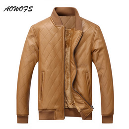 Wholesale Mens Bomber Jacket Fur - AOWOFS Mens Leather Winter Bomber Jacket Faux Fur Male Coats Warm Casual Quilting PU Khaki Jacket Men American Style Big Size