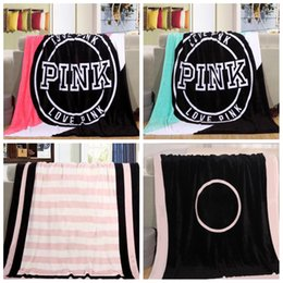 Wholesale Pink Fashion Wholesale - 130*150cm PINK flannel Blanket Letter Carpet Coral Velve Beach Towel Blankets Plush Throw Blankets Lazy Blankets fashion new style FFA192
