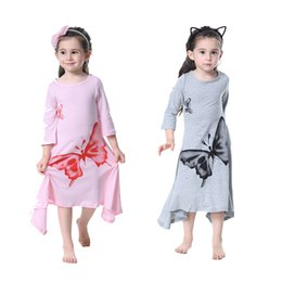 Wholesale Long Cotton Beach Skirts - 2018 ins new girl big butterfly horn long section skirt long sleeved princess dress spring and summer party kids fashion Irregular dress