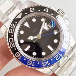 оригинал люкс Скидка Версия Batman GMT Делюкс Часы 40MM керамический вращающийся ободок голубой увеличитель Азии 2836 автоматические механические часы движение Оригинал Застежка