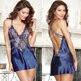 659a23a8e7 Wholesale-Women s Sleepwear 2018 New Fashion Women Sexy Backless Lace Dress  Satin Lingerie Nightwear Underwear Ladies s Sleepwear Babydoll