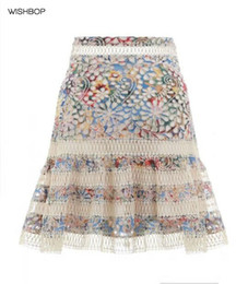 Wholesale Blue Waist Trimmer - 2018 Spring Luxury High Fashion Woman Blue Floral Embroidered Cotton LOVELORN FLUTTER High waist MINI SKIRT lace loop trim