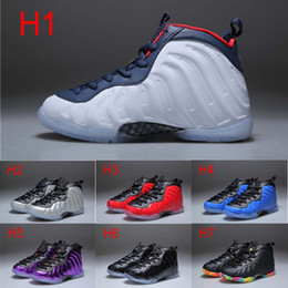 Wholesale Cheap New Basketball Shoes - New Kids Penny Hardaway Fruity Pebbles Olympic USA Eggplant Royal Basketball Shoes Cheap Boys Girls Air Foam One Sneakers For Sale