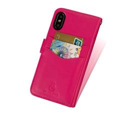 Caso del oem de encargo online-Nuevo caso de cuero del teléfono móvil del OEM de la llegada para la cubierta de la caja de la cartera de la tarjeta de crédito de Iphone x, para el caso de cuero del tirón de la cartera de Iphone X con el logotipo de encargo