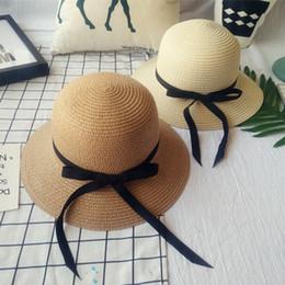 2020 sombreros de papel para mujer Moda Casual Mujeres Wide Brim Summer Beach Sun Hat Straw Floppy Elegante Bohemia Cap Paper Straw Hat Cubo Sombreros sombreros de papel para mujer baratos