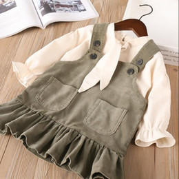Wholesale Girl Holiday Outfits - Everweekend Girls Bell Sleeve Tees with Corduroy Ruffles Halter Dress 2 pcs Set Lovely Kids Brown and Green Color Holiday Outfit