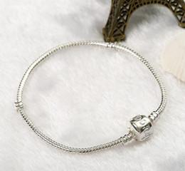 Canada Chaud! 16-23 cm 925 Argent Plaqué Bracelet Serpent Chaîne avec Barrel Fermoir Fit Européenne Perles P Bracelets DIY cheap european p Offre