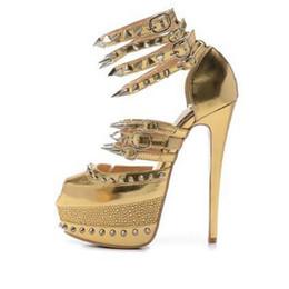 Tamaño 35-41 Tacones altos de 16 cm para mujer Cuero genuino de oro con púas / Rhinestone Sandalias de fondo rojo Señoras Nueva moda Abrigo de tobillo Zapatos de fiesta desde fabricantes
