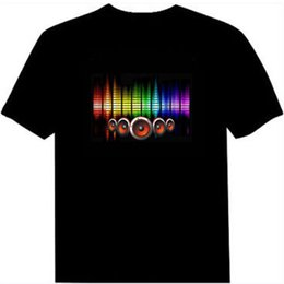 Wholesale Led T Shirts - Hot Sale Sound Activated Led Cotton T Shirt Light Up And Down Flashing Equalizer El T Shirt Men For Rock Disco Party Dj Top Tee