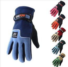 Wholesale Cold Winter Gloves - Men Cycling Gloves Cold-proof Winter Warm Fleece Thermal Full Finger Glove Motorcycle Snow Snowboard Skiing Gloves YYA1108